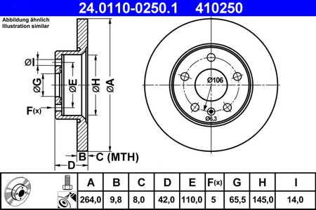 ATE 24.0110-0250.1 Bremsscheibe, 1 Stück ATE 24.0110-0250.1