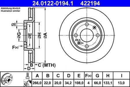 ATE 24.0122-0194.1 Bremsscheibe, 1 Stück ATE 24.0122-0194.1