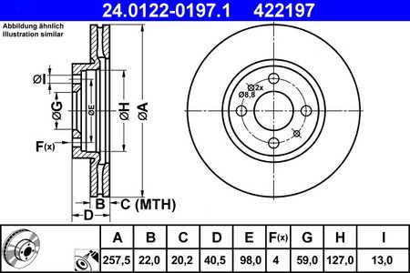 Teilebild Bremsscheibe - 24.0122-0197.1 ATE