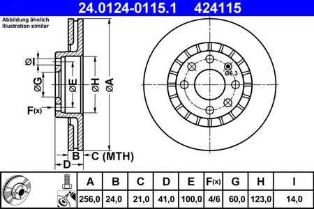 ATE 24.0124-0115.1 Bremsscheibe, 1 Stück ATE 24.0124-0115.1