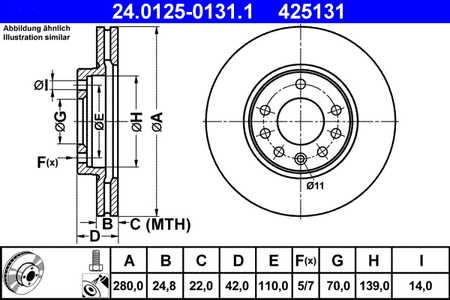 ATE 24.0125-0131.1 Bremsscheibe, 1 Stück ATE 24.0125-0131.1