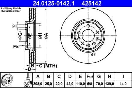 ATE 24.0125-0142.1 Bremsscheibe, 1 Stück ATE 24.0125-0142.1