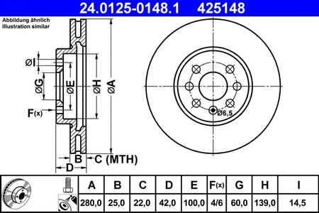 ATE 24.0125-0148.1 Bremsscheibe, 1 Stück ATE 24.0125-0148.1