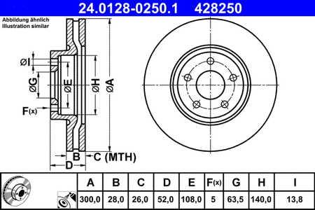 ATE 24.0128-0250.1 Bremsscheibe 1 Stück ATE 24.0128-0250.1