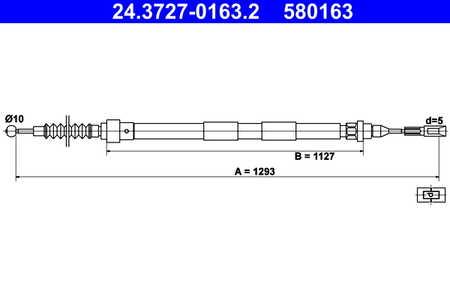 ATE 24.3727-1068.2 bremsseil Bremszug per Opel