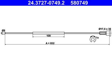 Feststellbremse   für Opel Corsa C Corsa C Kasten ATE 24.3727-0786.2 Seilzug
