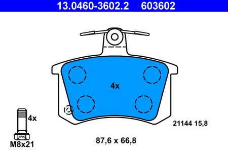 Teilebild Bremsbelagsatz, Scheibenbremse ATE 13.0460-3602.2