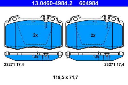 ATE 13.0460-4984.2 Bremsbelagsatz, Scheibenbremse
