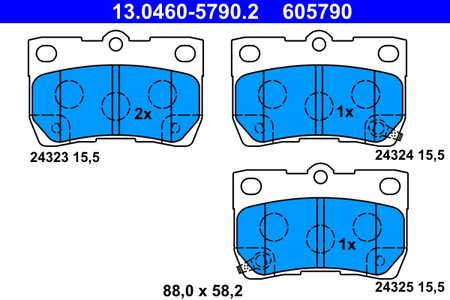 Bremsbelagsatz Bremsklotz Bremsklötze Bremse Bremsen ATE 13.0460-5750.2