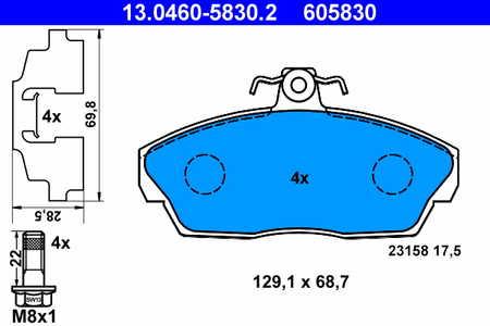 ATE 13.0460-5830.2 Bremsbeläge, Scheibenbremse ATE 13.0460-5830.2