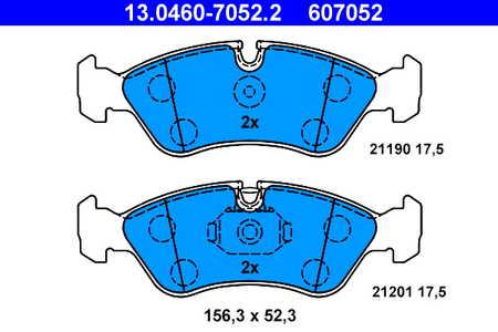 Teilebild Bremsbelagsatz, Scheibenbremse ATE 13.0460-7052.2