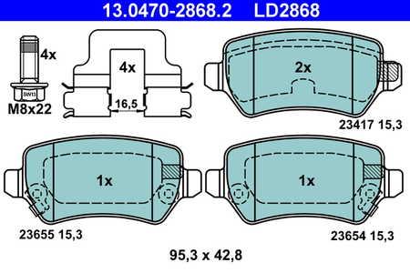 ATE Bremsbeläge Satz Hinten ATE Ceramic 13.0470-2868.2 für KIA OPEL