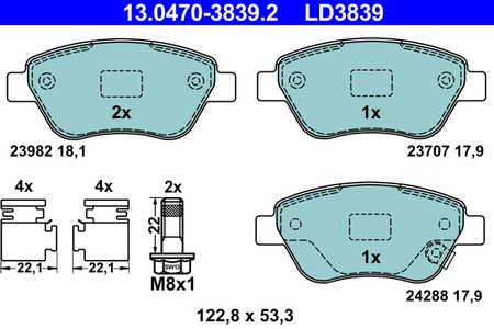4x ATE Bremsbeläge vorne Für OPEL CORSA ADAM AGILA 13.0460-3839.2