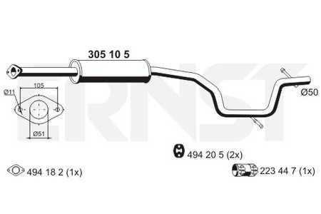 Mittelschalldämpfer Ford S-Max  2.0 Auspuff Mitteltopf Montagesatz