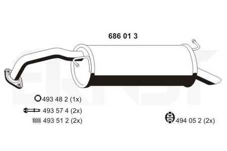 Toyota Yaris 1.0 1.3 48-50-64KW Endschalldämpfer Auspuff Endtopf Dichtung