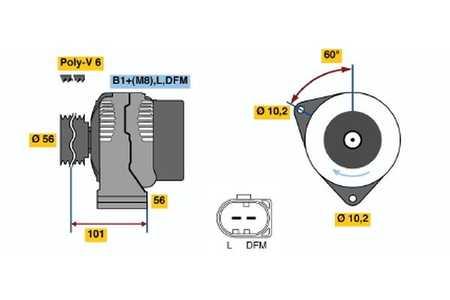 BOSCH LIMA GENERATOR MERCEDES C-KLASSE W203 E-KLASSE W211 SLK R171 CLK A209