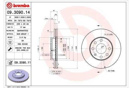 Teilebild Bremsscheibe, 1 Stück BREMBO 09.3090.14
