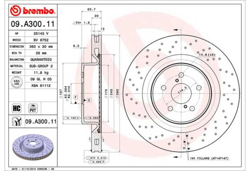 Bremsscheibe Brembo 09.A300.11 COATED DISC LINE 2 Stück