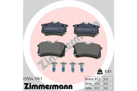 Teilebild Zimmermann Bremsbeläge hinten Audi Seat Skoda VW