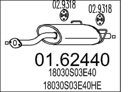 Endschalldämpfer Honda Civic V EJ9 Hatchback Auspuff