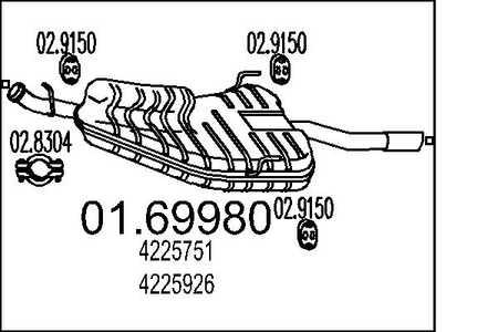 Saab Endschalldämpfer 44.7006